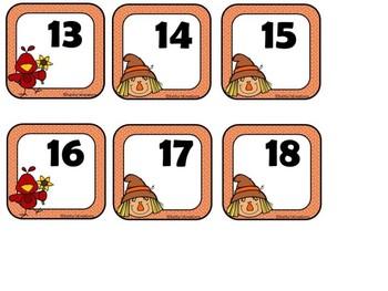 Free Fall Calendar Numbers