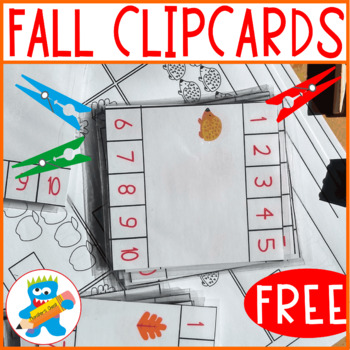 Free Fall Clip Cards. Numbers 1 to 10. Includes 3 B&W worksheets