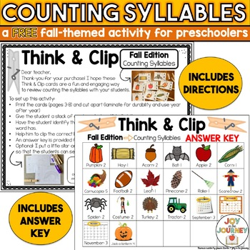 Free Fall Counting Syllables Activity for Preschool
