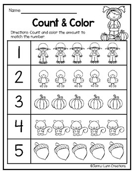 Free Fall Math Counting 1-10 by Jenny-Lynn Creations | TpT