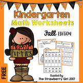 Free Kindergarten Math Worksheets - Fall