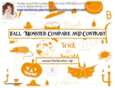 Free Compare and Contrast Fall Monster Cards for Speech Language