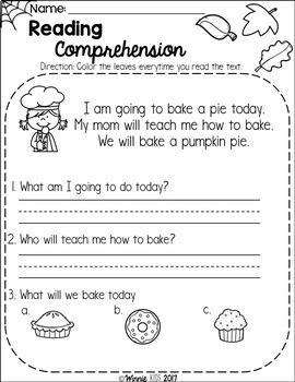 FREE Kindergarten Reading Comprehension Passages - Fall by Winnie Kids