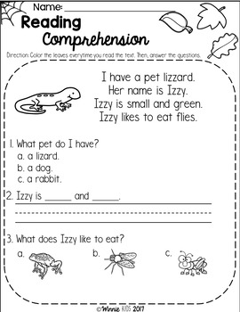 FREE Kindergarten Reading Comprehension Passages - Fall by ...