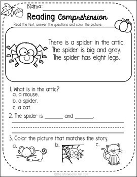 Free Kindergarten Reading Comprehension Passages - Fall