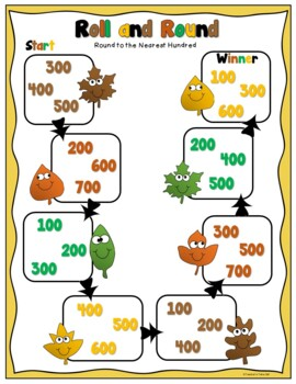 Free Fall Rounding Game using 2 Digit, 3 Digit, or 4 Digit Numbers