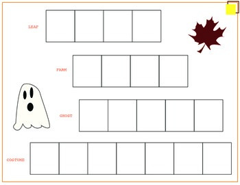 Free Fall Theme Spelling Activity with Pumpkin Letter Cut Outs