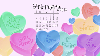 Free February 2018 Valentine's Candy Heart Computer Wallpaper