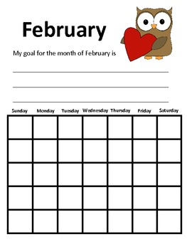 Free February Calendar Set-  Includes Calendar, Draw Start, & Make Words