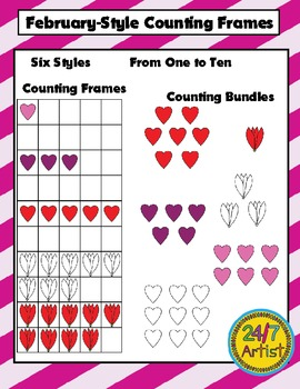 Free February Counting Frames Math Clip Art Set - 120 Graphics!