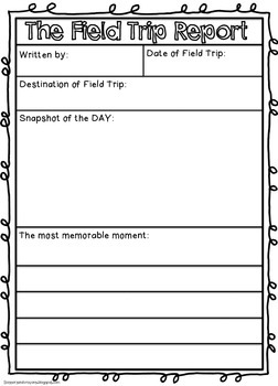 field trip lesson plan template - free field trip report by scissors and crayons tpt