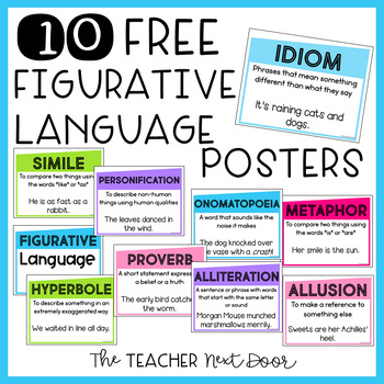 Free Figurative Language Posters  sc 1 st  Teachers Pay Teachers & Free Figurative Language Posters by The Teacher Next Door | TpT