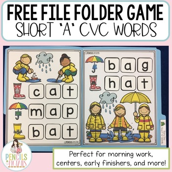 Free File Folder Game - Short A CVC Words - Morning Work, Centers, & More!