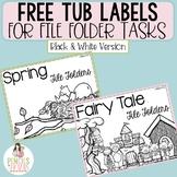 Free File Folder Tub Labels - Black and White Version