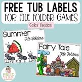 Free File Folder Tub Labels - Colored Version