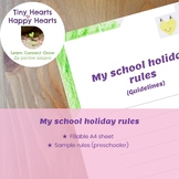 Free Fillable School Holiday Rules Printable