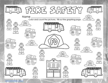 Free Fire Safety Count and Graph Pre-K thru Grade 1