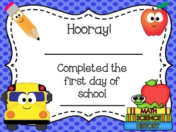 Free First Day of School Certificate