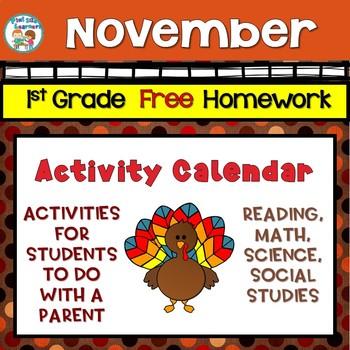 Free Editable First Grade Activity (Homework) Calendar – November 2018