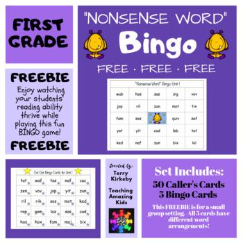 "FREEBIE for 1st Grade Journeys: ""Nonsense Word"" Bingo"