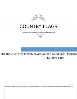 Free: Flags to use with Cinderella Around the World