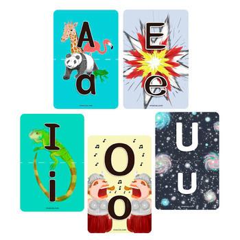 Free Flashcards: Upper-Lower Case Vowels (Multilingual EN/ES/FR)