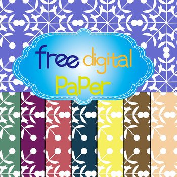 Free Floral,Snowflakes Digital Papers in 8 Colors