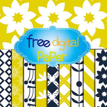 Free Floral,Snowflakes,Lines and Square Digital Papers in 2 Colors