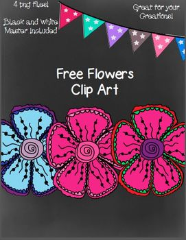 Free Flower Clip Art- 4 png Files (Black and White Master
