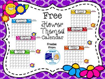 Free Flower Themed Calendar