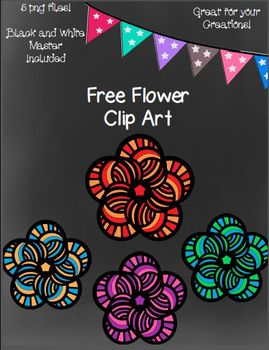 Free Flowers Clip Art ~ Black and White Master Included - 5 png images