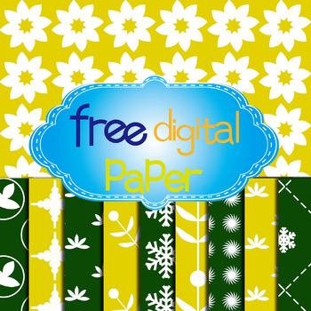 Free Flowers, Leaves, Snowflake Digital Paper in 2 Colors