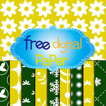 Free Flowers, Leaves, Snowflake Digital Paper in 2 Colors