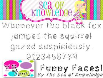 Free Font YB (Yara Boustani) Funny Faces! {The Sea of Knowledge}