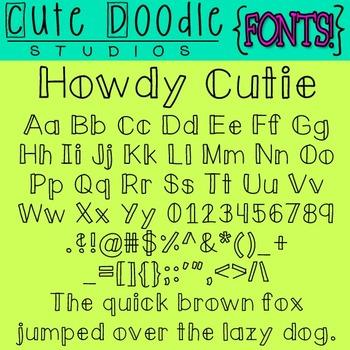{Free Fonts}  Howdy Cutie! \\ Cute Doodle Studios