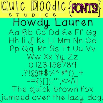 {Free Fonts}  Howdy Lauren! \\ Cute Doodle Studios