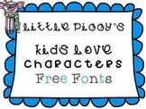 Free Fonts - Little Piggy's Kids Love Characters
