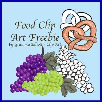 Free Food Realistic Clip Art  Grapes  Pretzel Color and BW