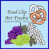 Free Food Realistic Clip Art  Grapes  Pretzel Color and BW
