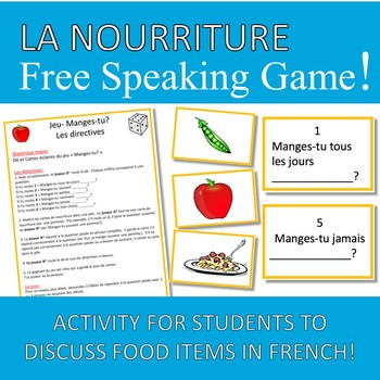 Free Food French Speaking Game Jeu Nourriture
