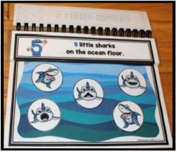 Five Little Sharks Interactive Storybook, Finger Puppets, Storytelling Gloves