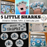 Five Little Sharks Interactive Storybook, Finger Puppets,