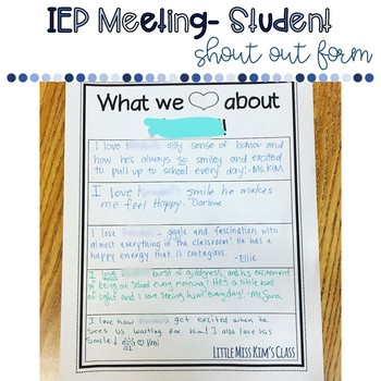Free Form for Team Shout Outs for Student IEP Meetings