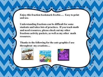 Free Fraction Bookmark for students