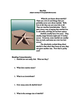 Free: Editable Article about Starfish with Questions