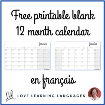 Free French blank calendar - Calendrier en français