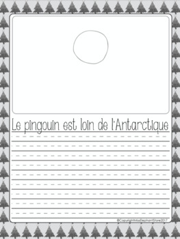 Free French Christmas Writing Penguin