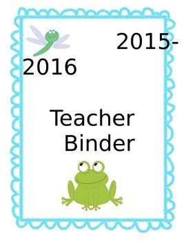 Teacher Binder - Frog Theme - 2015-2016