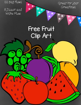Free Fruit Clip Art ~ Black and White Master Copies Included - 22 png images
