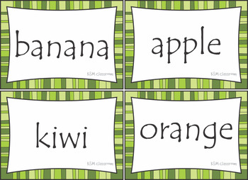 Free Sample Fruit Word Cards